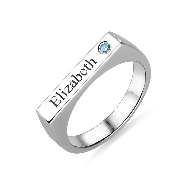 Engraved Bar Ring With Birthstone