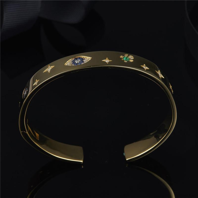 Yellow Gold Color Clover Eye Lucky Charm Bangle