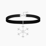 Snowflake Collar Choker Pendant Sterling Silver Necklace