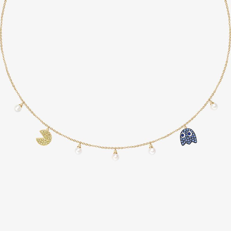Pac-Man Maze Round Pearl Necklace