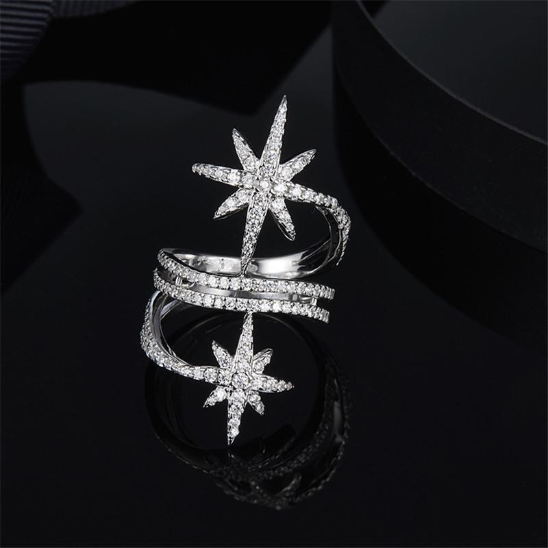 S925 Pure Silver High-end Micro Inlaid Crystal Diamond Fashion Meter Character Star Ring
