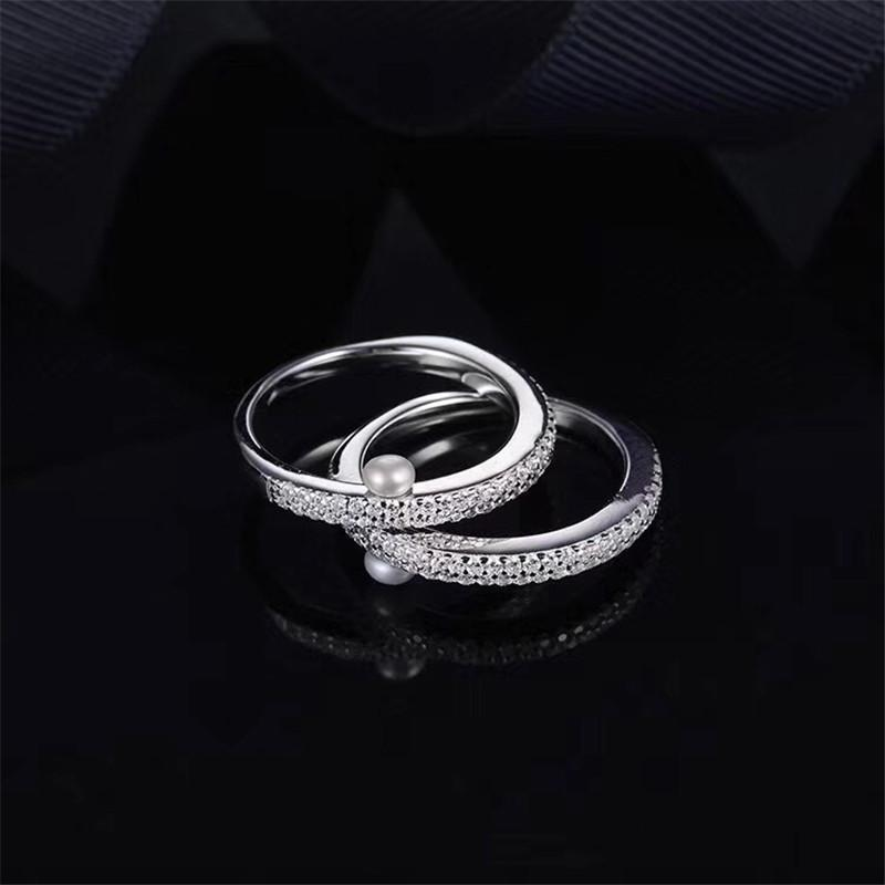 S925 Pure Silver High-end Micro Inlaid Crystal Diamond Double Row Small Pearl Ring