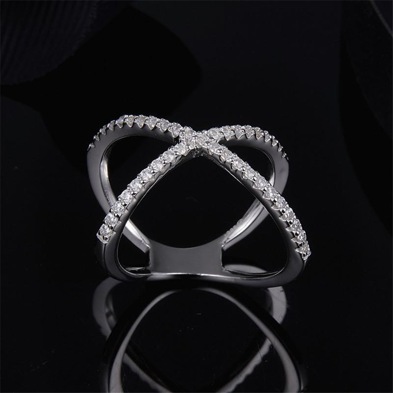 S925 Sterling Silver High End Micro Inlaid Diamond Cross Ring Personality