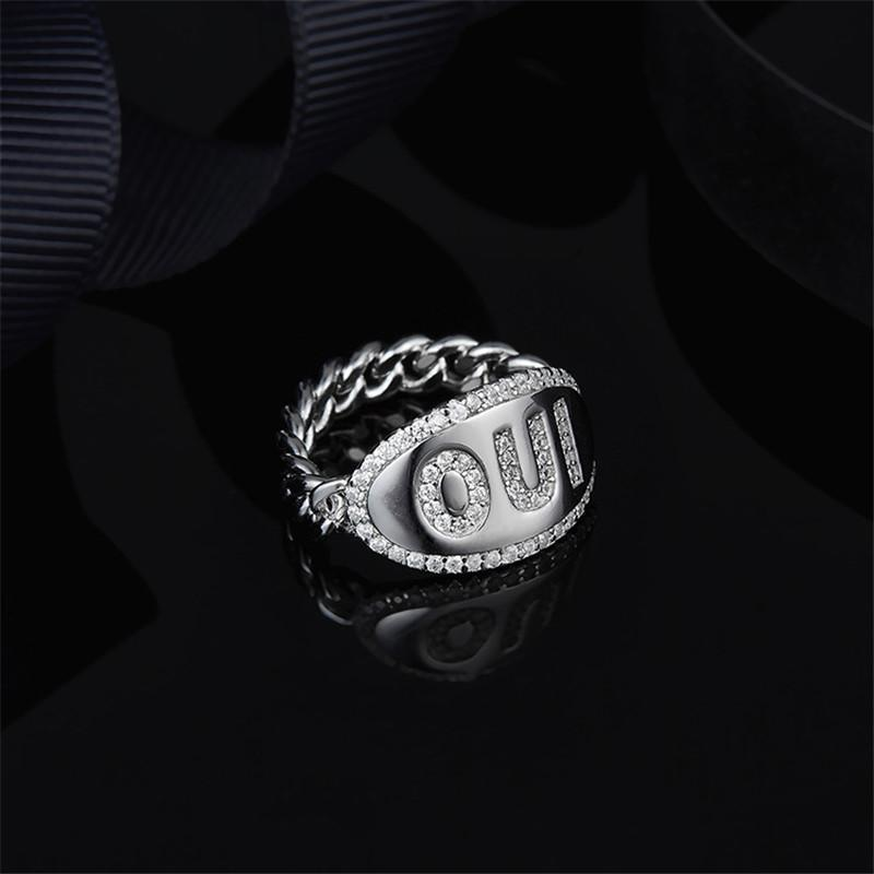 S925 Sterling Silver High End Micro Inlaid Diamond Oui Half Chain Ring