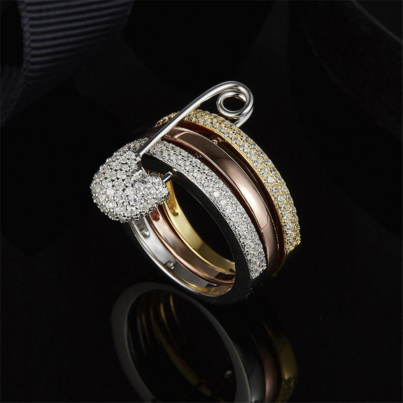 S925 Pure Silver High-end Micro Setting Crystal Diamond Simple Three Ring Pin Ring Female