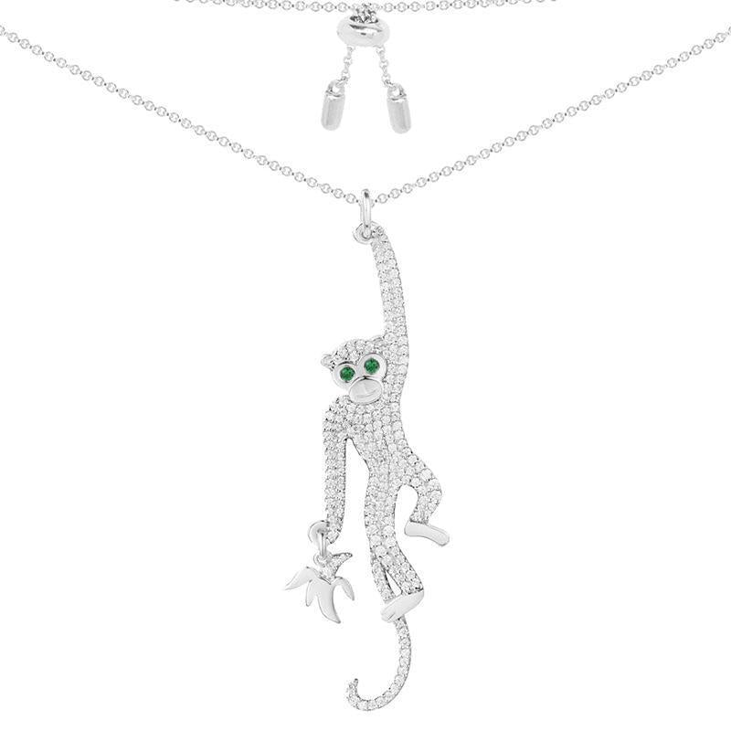 Cute Monkey Pendant Sterling Silver Necklace