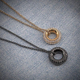 Classic Round Circle Design Pendant Sterling Silver Necklace