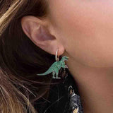 Cute Little Dinosaur Sterling Silver Hoop Earrings