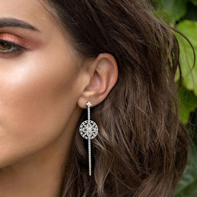 Unique Design Created Diamond Disc Totem Long Earrings