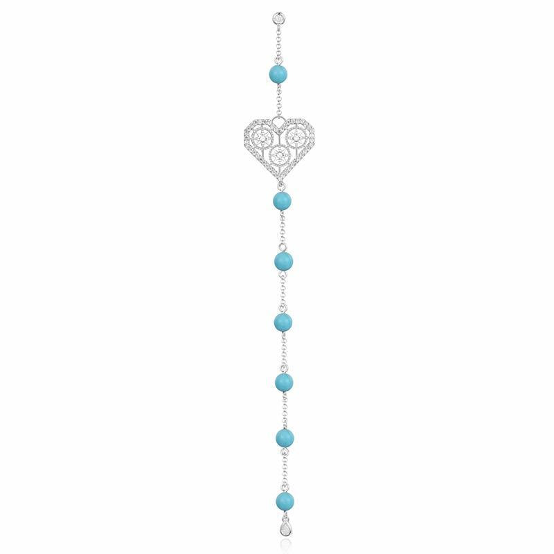Diamond And Turquoise Pearl Heart Earrings In Sterling Silver