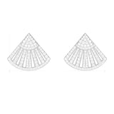 Fan Shaped Sterling Silver White Created Diamond Stud Earrings