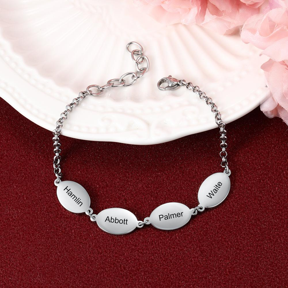 Personalized Mother Bracelet Engraved 4 Names Custom with Oval Pendants