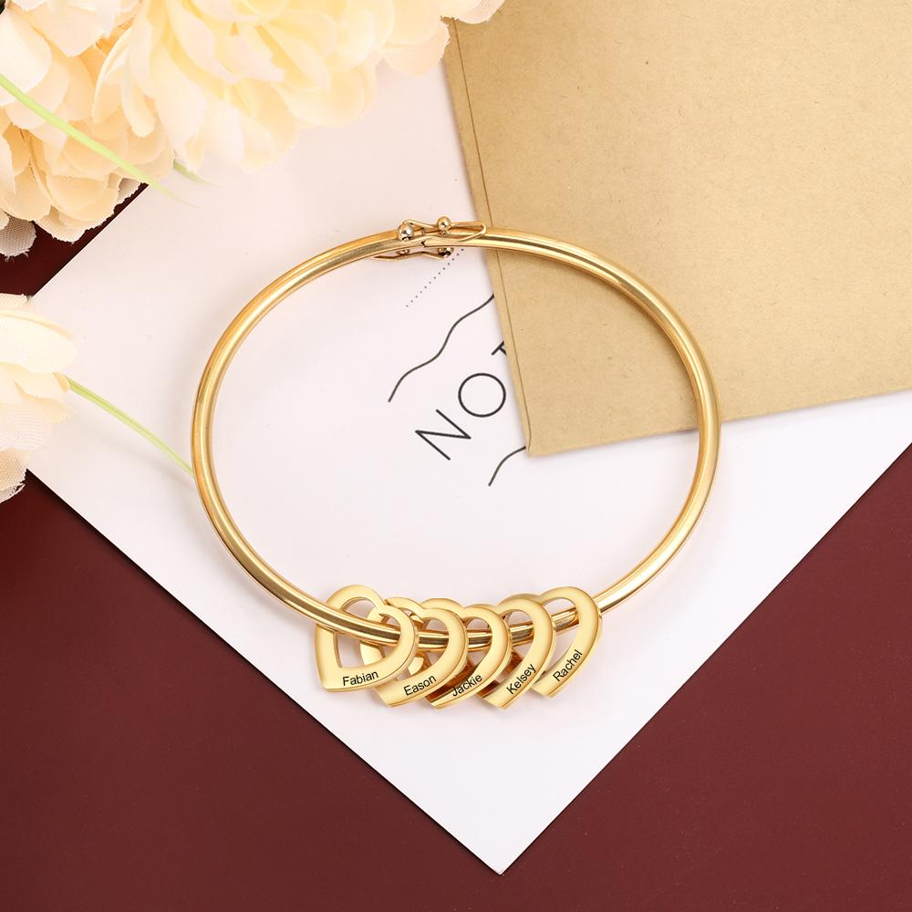 Gift For Mom Bangle Bracelet Personalized with 5 Heart Shape Pendant Engraved 5 Names