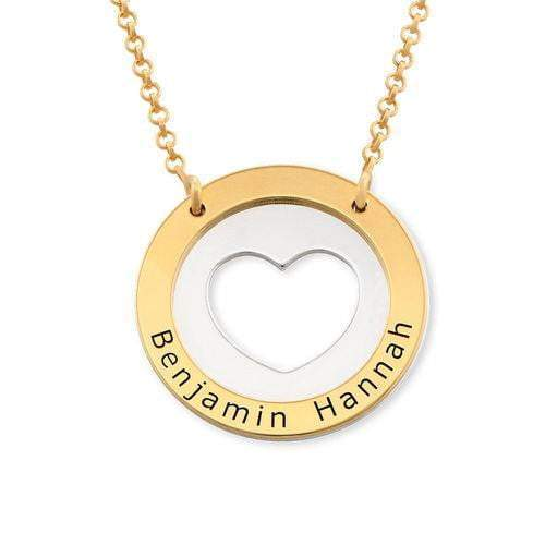 Circle Heart Love Necklace 925 Sterling Silver With Personalized Name