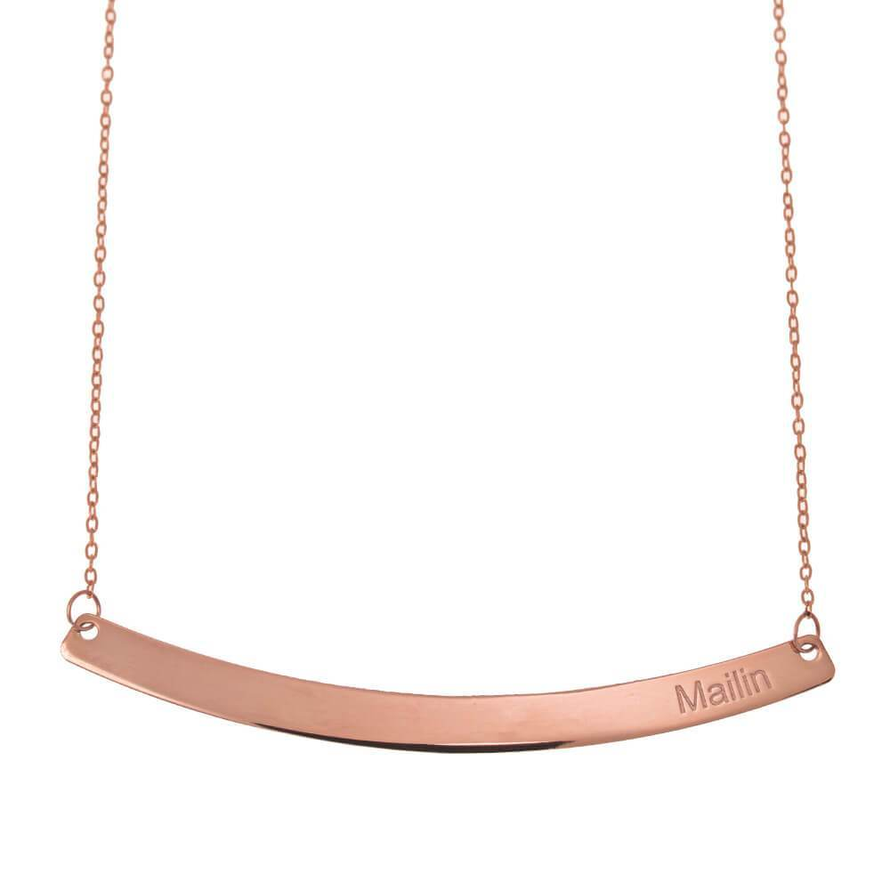 Curved Bar Name Necklace