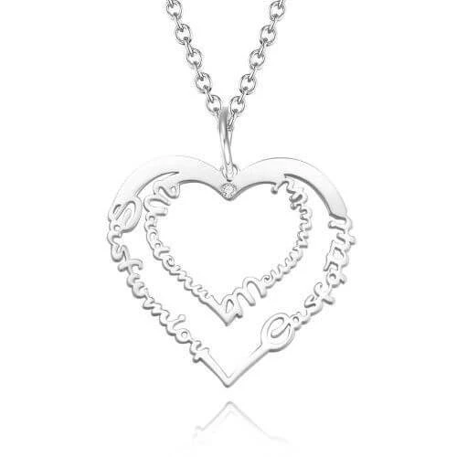 Love Heart Engraved Name Necklace 18K Rose Gold Birthstone Gift for Women
