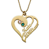 925 Sterling Silver Custom Heart Two Name Necklace 18K Gold Plating