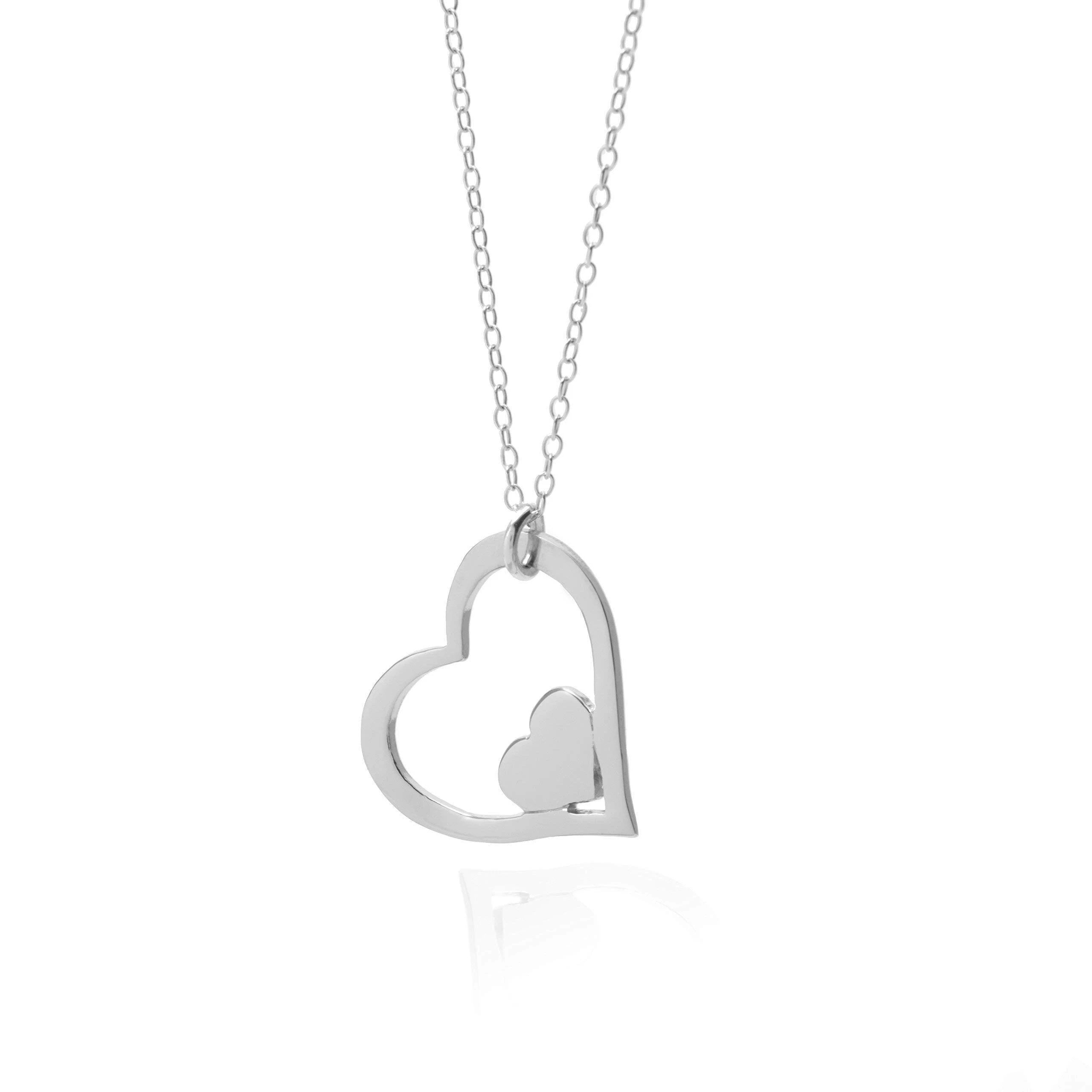 Double Love Heart Necklace - Remembrance Necklace with Adjustable Chain