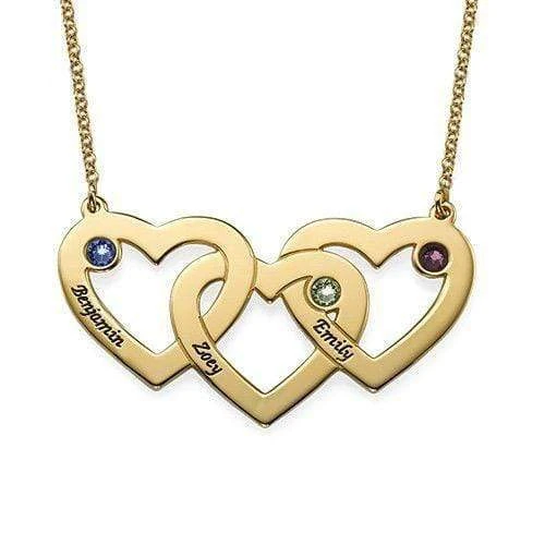 Heart Love Necklace With Engraved Three Name 18K Plated Gold with Adjustable Chain