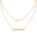 18K Gold Plated Engraved Name Bar Necklace with Adjustable Chain