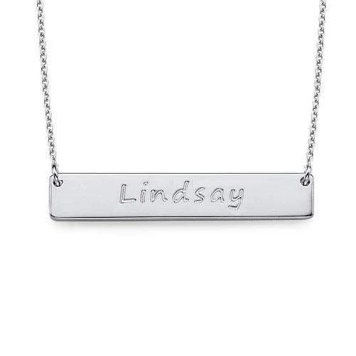 18K Gold Personalized Bar Necklace With Name Jewelry with Adjustable Chain