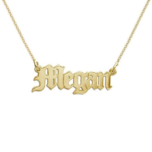 18k Gold Old English engraved Name Necklace with Adjustable Chain
