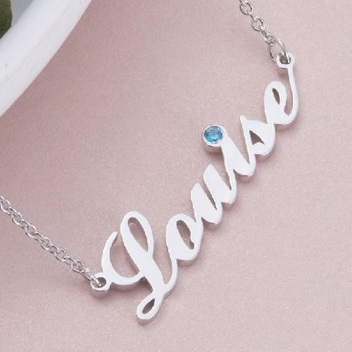 18k Gold Name Necklace With Birthstone