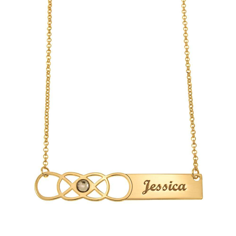 Double Infinity Bar Name Necklace With Birthstone