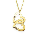18k Gold Plating Engraved Name Necklace With Two hearts with Adjustable Chain