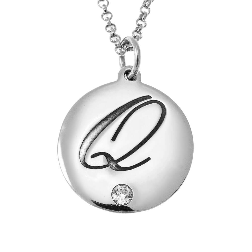 Engraved Disc Initial Necklace With Birthstone