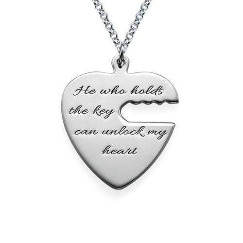 Personalized?Customized Key to My Heart Couple Necklace 925 Sterling Silver