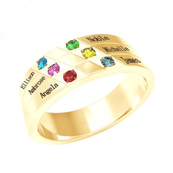Personalized Six Birthstone Mothers Ring