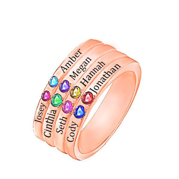 Personalized Eight Birthstone Mothers Ring