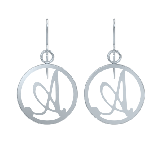 Circle Dangle Earrings With Initial A-Z