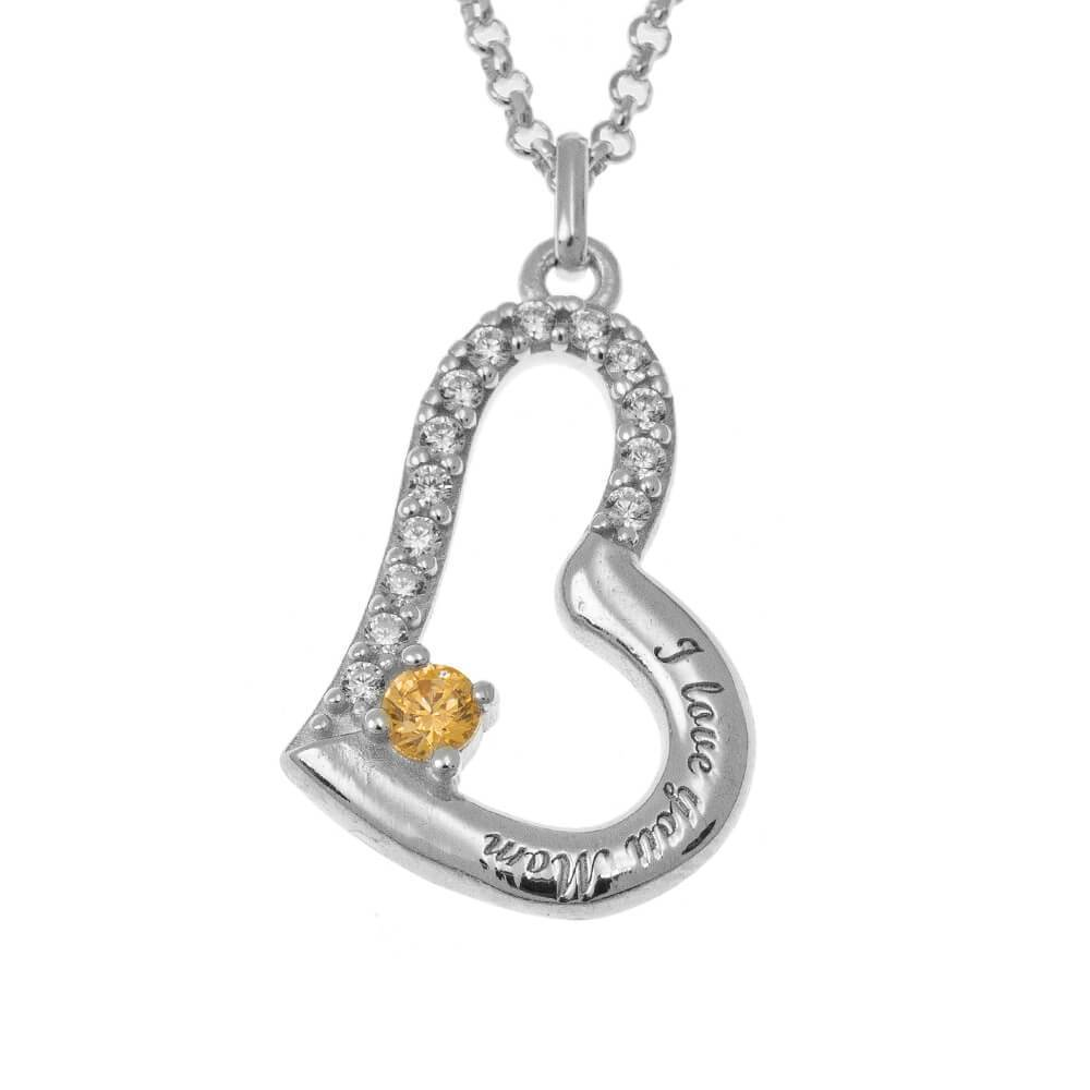 I Love You Mom Necklace With Birthstone
