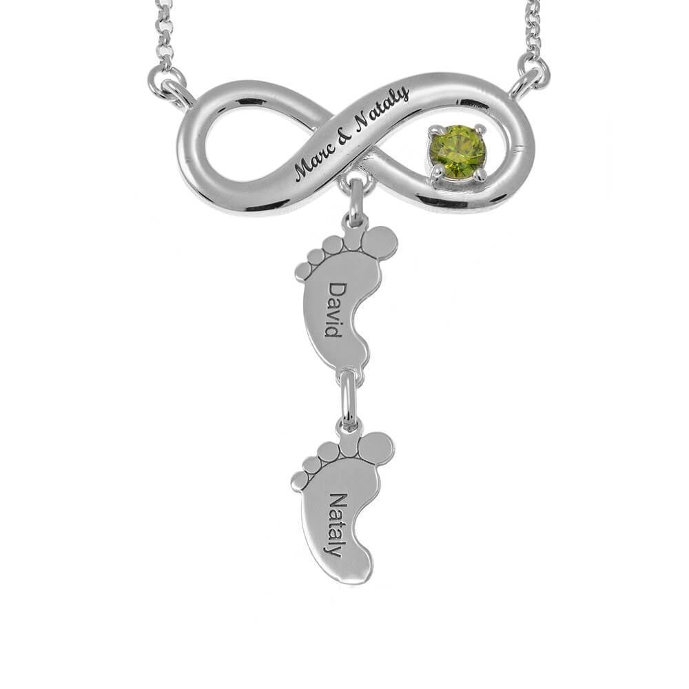 Infinity Necklace With Birthstone And Feet