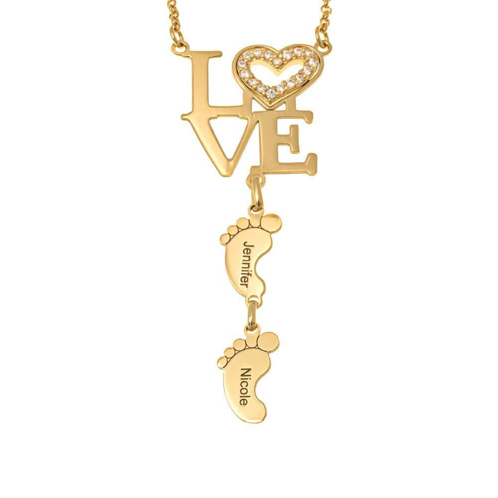 Inlay Heart Love Necklace With Feet