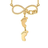 Inlay Infinity Mom Necklace With Feet