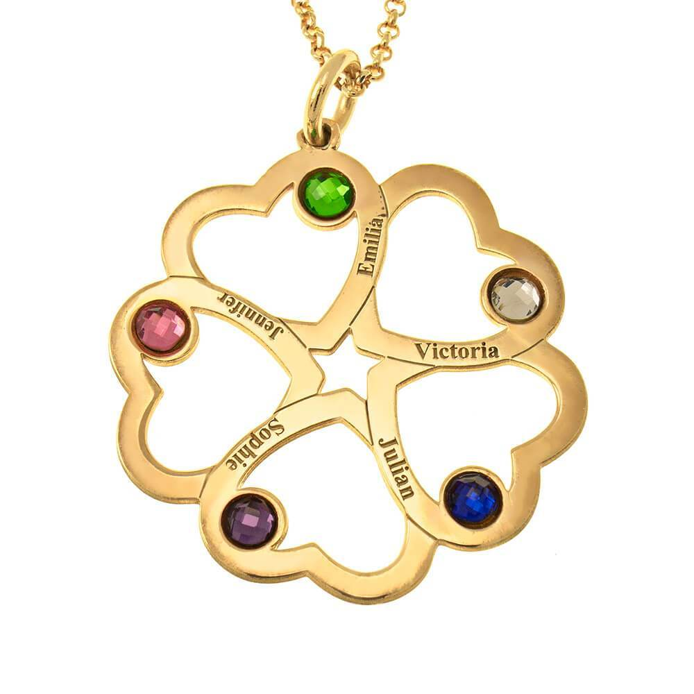 Intertwined 5 Hearts Name Necklace With Birthstones