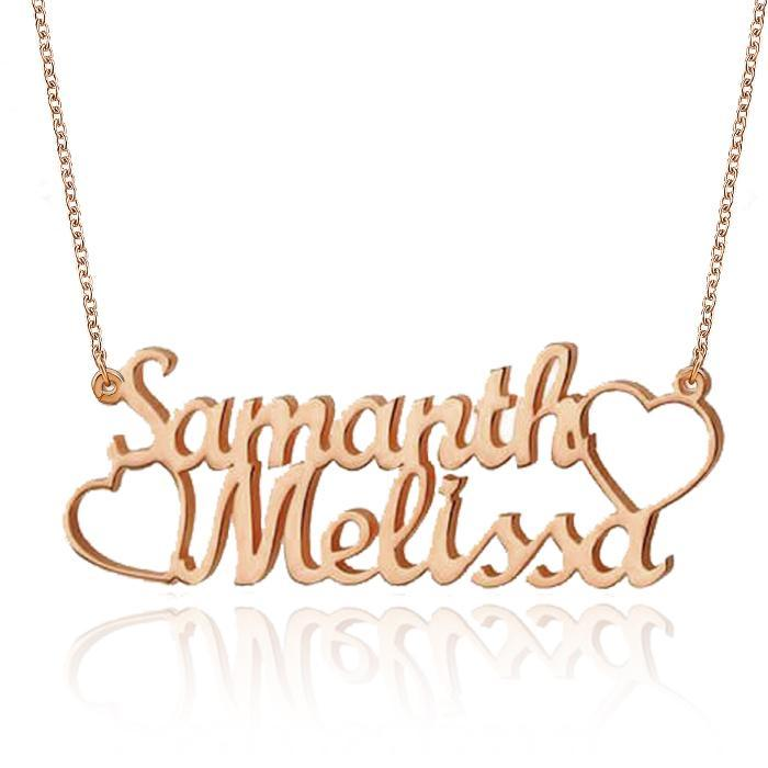 18K Gold Plated Personalized Two Names and Heart Pendant Name Necklace