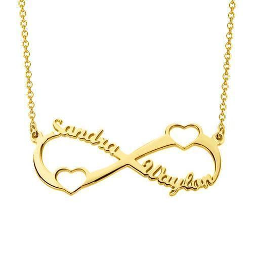 Double Heart Infinity Love Necklace with Engraved Name 18K Gold Plating