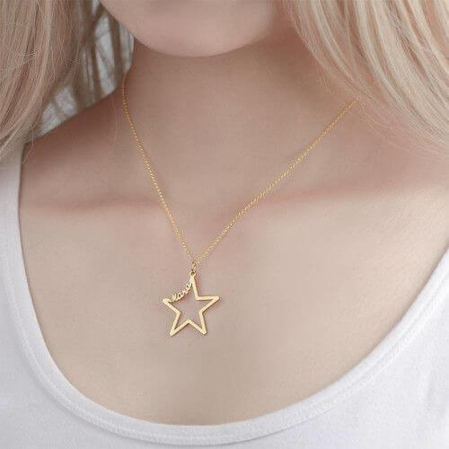 18K Gold Plated Star Shaped  Personalized Necklace With Name with Adjustable Chain