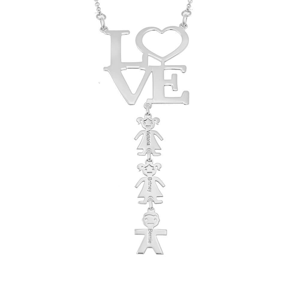 LOVE Mom Necklace With Kids