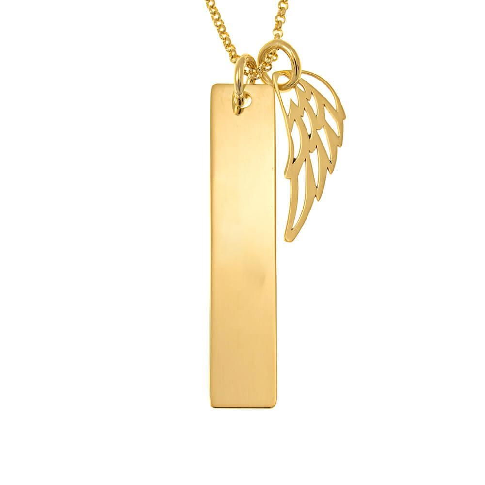 Memorial Angel Wing Bar Necklace
