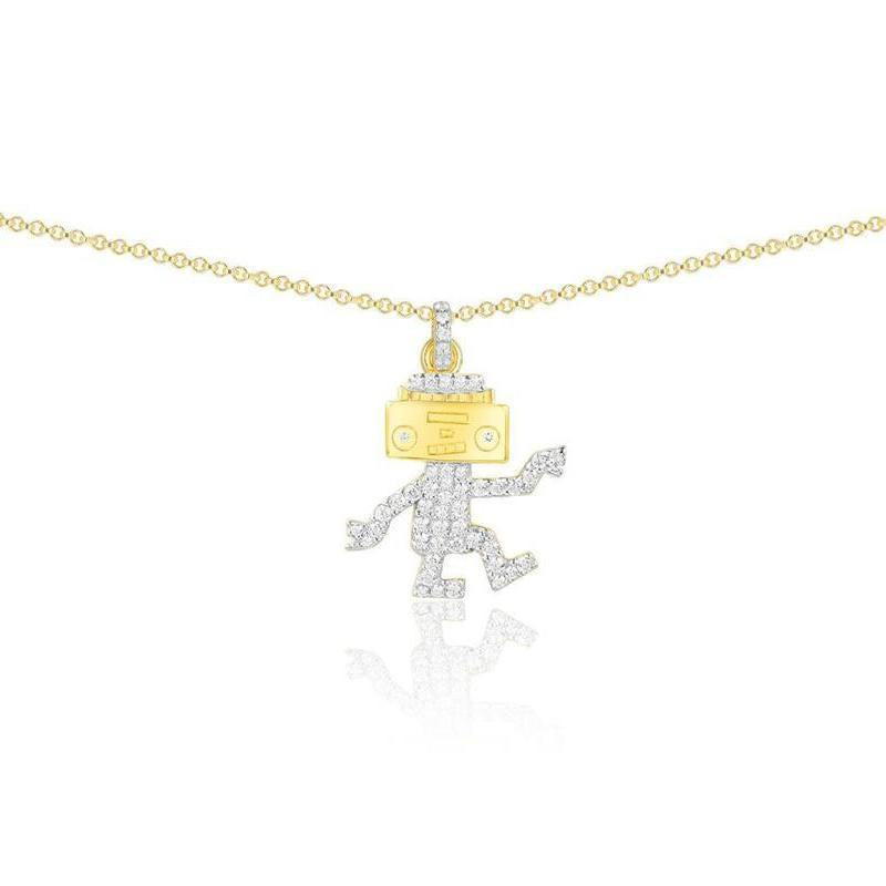Interesting Cute Robot Pendant Sterling Silver Necklace