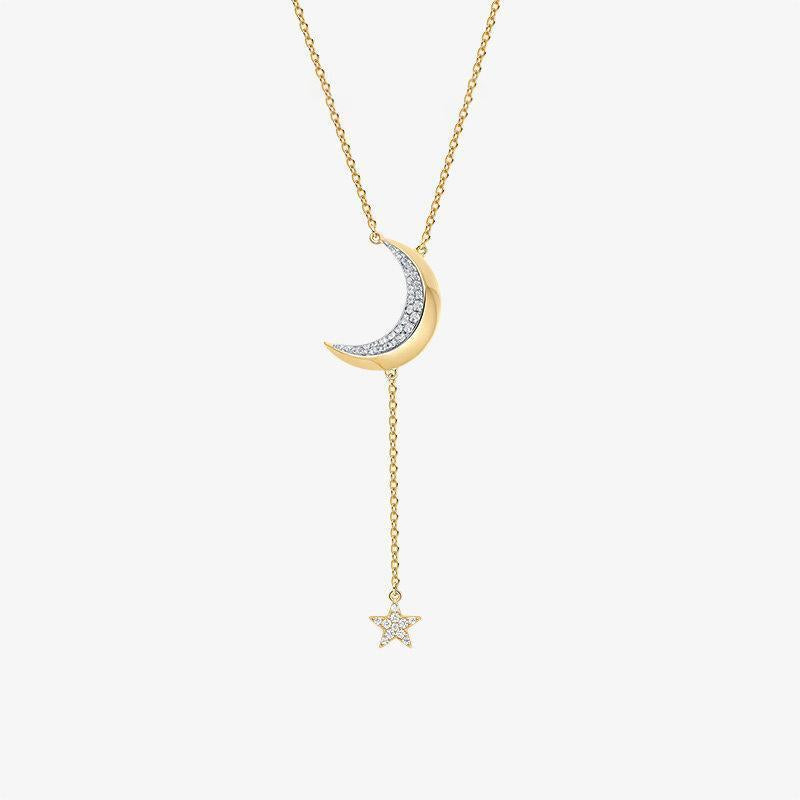 Moon Night Necklace Womens Fashion Long Sweater Chain Sterling Silver Pendant