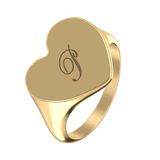 Engraved Heart Signet Initial Ring