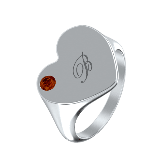 Heart Signet Ring With Birthstone