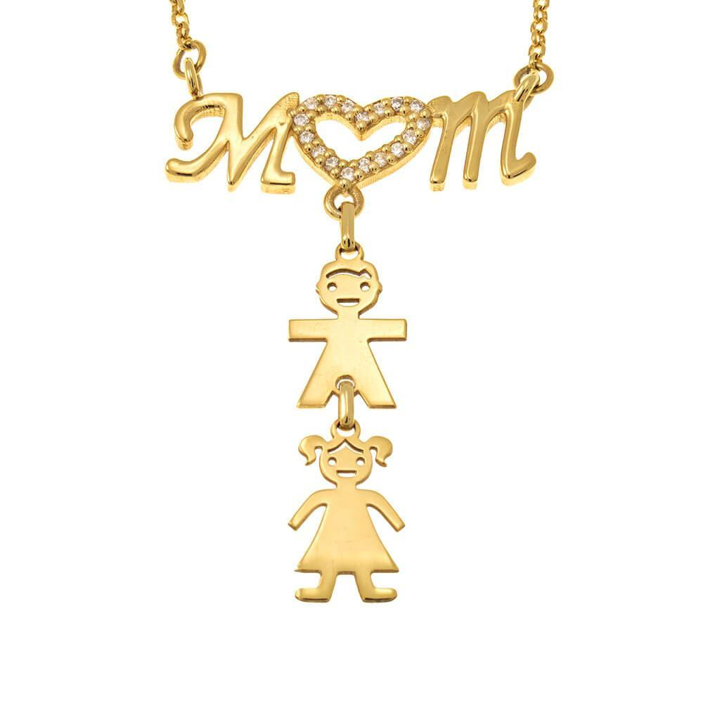 Micro inlay Mom Necklace With Kids