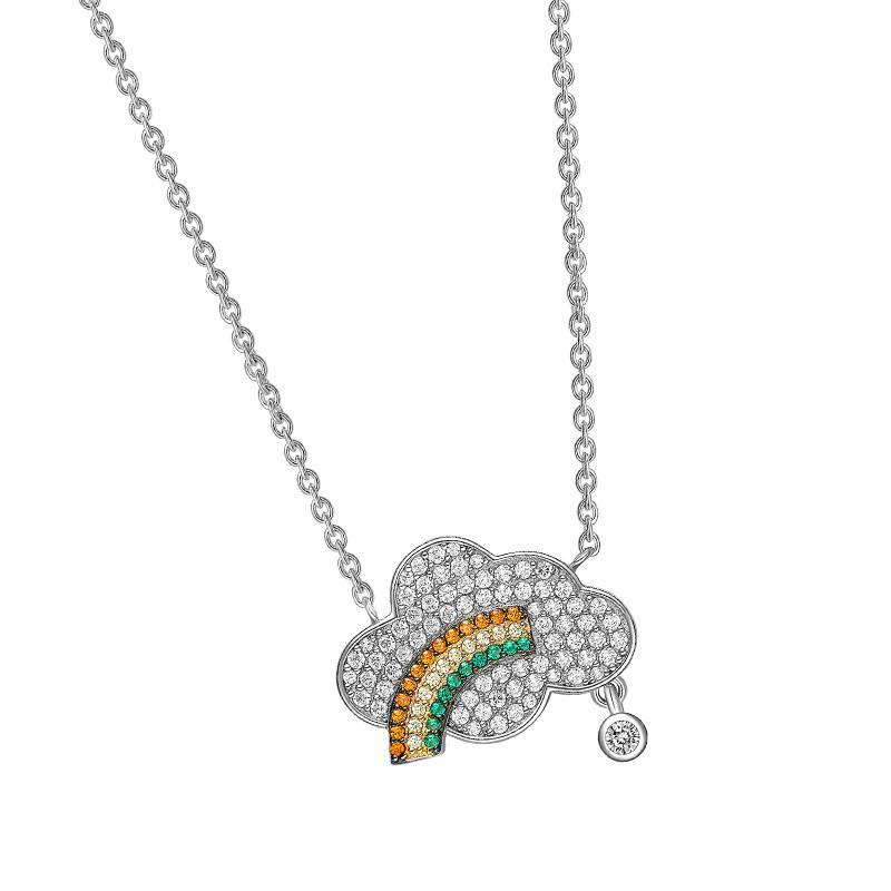 Sterling Silver Rainbow Cloud Pendant Necklace